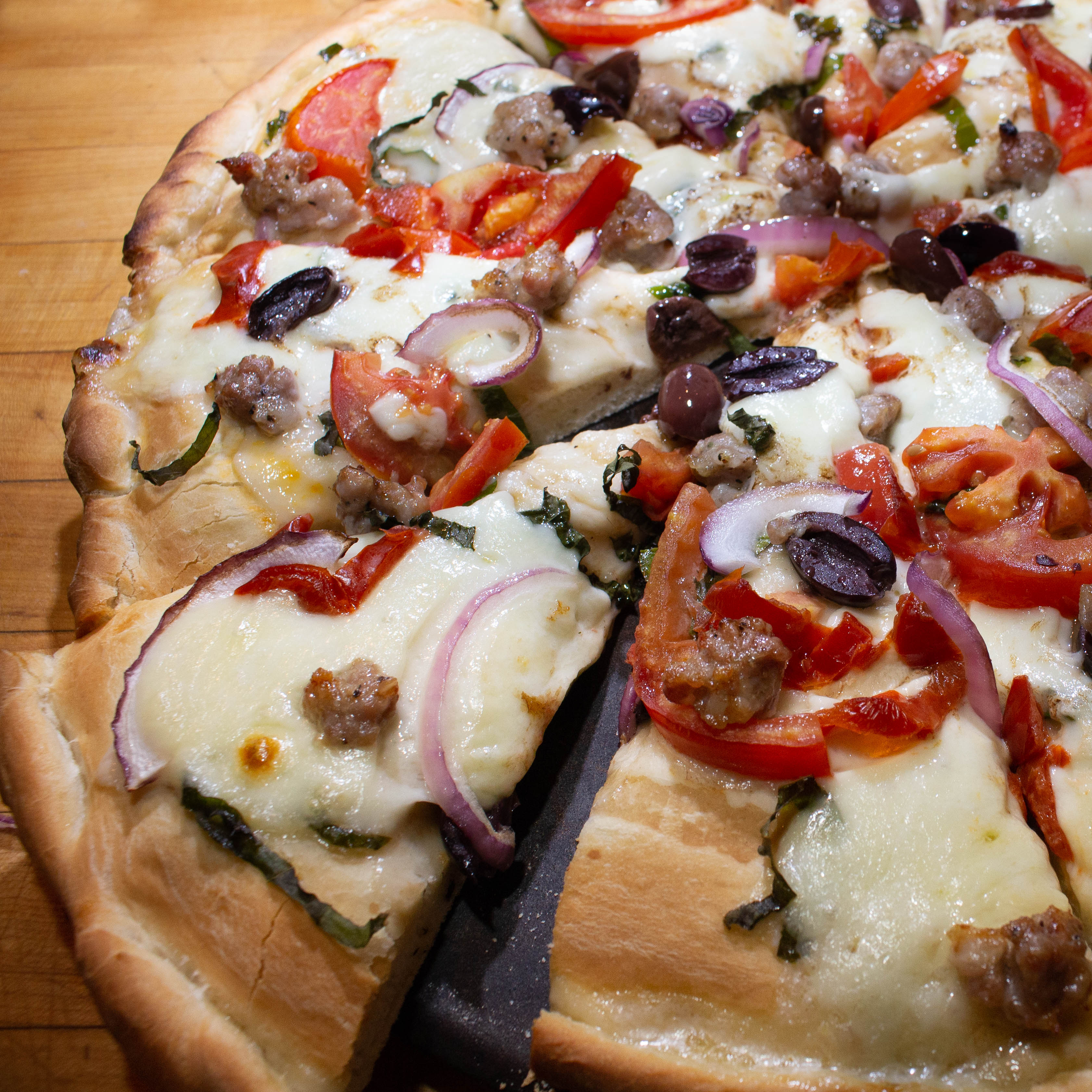 Caprese-Style Sausage Pizza